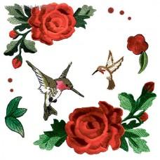 Термонаклейка для декорирования текстильных изделий Райские птицы, размер 14х14 см АртУзор, DA000183
