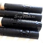 Ткань с перфорацией кожей - крокодил Чёрный, зеркальная, отрез размером 35х50см(+/- 1см), тонкий, DA000194