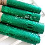 Ткань с перфорацией кожей - крокодил Зелёный, зеркальная, отрез размером 35х70см(+/- 1см), тонкий, DA000197