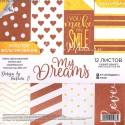 Набор бумаги для с фольгированием «My dreams», 12 листов 15,5×15,5 см, АртУзор, DA000203