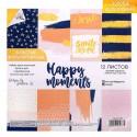 Набор бумаги для с фольгированием «Happy moments», 12 листов 15,5×15,5 см, АртУзор, DA000204
