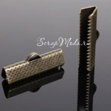 Зажим для ленты 20 мм, античная бронза, размер 20х8 мм, цена за 1 шт., DA000270