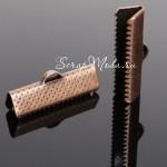 Зажим для ленты 20 мм, красная бронза, размер 20х8 мм, цена за 1 шт., DA000271