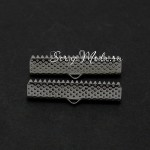 Зажим для ленты 20 мм, тёмное серебро, размер 20х8 мм, цена за 1 шт., DA000272