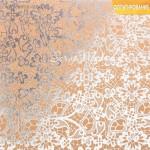 Бумага Крафт с фольгированием Любовь, тиснение серебро размер 20х20см, 180 г/м, Арт Узор, DA000307
