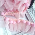 Рюши из сеточки фатина с помпонами, Baby Girl, высота 5 см, цена за 45 см, DA000374
