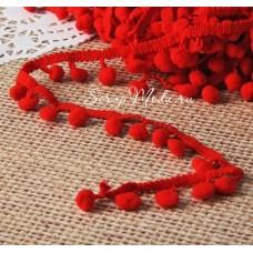 Тесьма с помпонами красная, размер помпона 8 мм., цена за 1 метр, YA000375