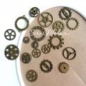 """Набор Металлических шестерёнок """"Стимпанк"""" MIX, цвет античная бронза, размер от 10 до 25 мм., цена за 18 шт., DA000397"""