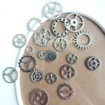 "Набор Металлических шестерёнок ""Стимпанк"" MIX, цвет серебро, размер от 10 до 25 мм., цена за 18 шт., DA000398"