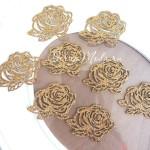 Термоаппликация Розочка, цвет золото, размер 4х5 см., цена за 1 шт., DA000417