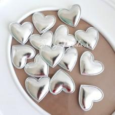 Сердечко из кожзама, 30 мм., серебро, цена 1 шт., DA000419