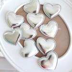 Сердечко из кожзама, 48 мм., серебро, волнистый край, цена 1 шт., DA000420