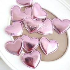 Сердечко из кожзама, 48 мм., розовое, волнистый край, цена 1 шт., DA000421