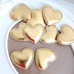 Сердечко из кожзама, 48 мм., золотое, волнистый край, цена 1 шт., DA000422