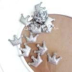 Корона Mini , тканевая, глитерная, серебро, 28x20 мм., серебро, цена 1 шт., DA000425