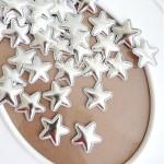 Звёздочка Mini из кожзама, 25 мм., цвет серебро, цена за 1 шт., DA000431