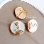 Пуговица Принцесса, белая с золотой эмалью, 24 мм, цена за 1 шт., DA000442