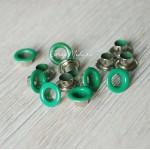 Люверсы металлические, цвет зелёный, внутренний диаметр - 4,8 мм., в наборе 20 шт. DA000448