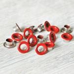 Люверсы металлические, цвет красная, внутренний диаметр - 4,8 мм., в наборе 20 шт. DA000449
