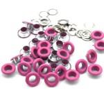 Люверсы металлические, цвет малиновый, внутренний диаметр - 4,8 мм., в наборе 20 шт. DA000450