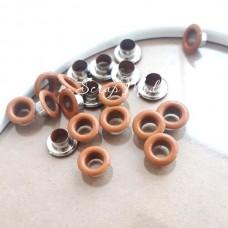 Люверсы металлические, цвет бежево-коричневый, внутренний диаметр - 4,8 мм., в наборе 20 шт. DA000451