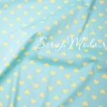 Ткань Желтое сердце на мятном, размер отреза ткани 40х50 см., хлопок, DA000554