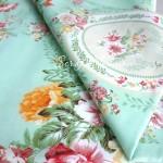 Ткань Цветы на фисташковом фоне, размер отреза ткани 40х50 см., хлопок, DA000559