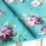 Ткань Крупные цветы на мятном фоне, размер отреза ткани 40х50 см., хлопок, DA000558