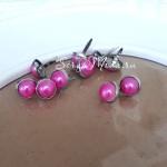 Брадс жемчуг Малиновый в металлической оправе, длина 13 мм., шляпка 10 мм, 10 шт., DA000568