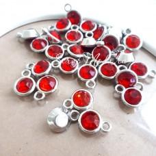 Подвеска  с красным Кристаллом, основа серебро, 15х11мм, цена за 1 шт., DA000573