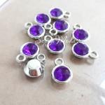 Подвеска с фиолетовым Кристаллом, основа серебро, 15х11мм, цена за 1 шт., DA000576