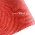 Кожзаменитель текстурный Питон, цвет Кирпичный, отрез размером 35х70 см(+/- 1см), тонкий 0,6 мм, на тканевой основе, DA000585