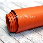 Переплётный Кожзам тёмно-оранжевый, матовый, отрез размером 30х80см, нестандартный размер! DA000656