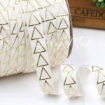 Резиночка, ширина 16 мм, Золотые треугольники на белом фоне, цена за 1ярд. DA000702
