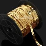Тесьма пайетки, цвет:золото, глянцевая, 6 мм, цена за 1 метр, DA000736