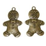 """Металлическая подвеска """"Пряничный человечек"""", античная бронза, цена за 1 шт, размером 45х30мм. DA000748"""