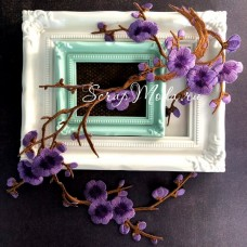 Термоаппликация Сакура, цвет цветочков: сиреневый, размер 30 см, DA000780