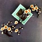 Термоаппликация Сакура, цвет цветочков: белый, размер 30 см, DA000781