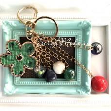 Брелок металлический, c подвесками шариками и с цветком, основа:золото, DA000782