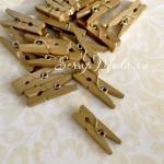 Прищепочка Mini деревянная, цвет:золото, размер 25х8 мм., цена за 1 шт., DE000057