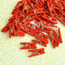 Прищепочки Mini деревянные, красные, 25х0,8 мм., цена за 1 шт., DE000103