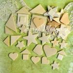 Набор деревянных фигур 40 шт., размер от 14 до 40 мм., толщина 1,5 мм., DE000108
