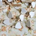 Прищепка Mini декоративная с сердечком,  деревянная, сердечко белое, 30 мм., цена за 1 шт., DE000116