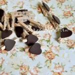 Прищепка Mini декоративная с сердечком,  деревянная, шоколад, 30 мм., цена за 1 шт., DE000122