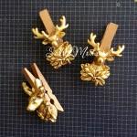 Прищепка декоративная золотая голова оленя, деревянная, 50 мм., цена за 1 шт., DE000147