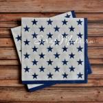 Салфетка бумажная 3-х слойная, звездочки синие, размер 33х33 см., цена за 1 шт. DK000023