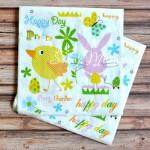 Салфетка Пасха Happy Day бумажная 3-х слойная, размер 33х33 см., цена за 1 шт., DK000031