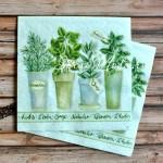 Салфетка Листья в горшке бумажная 3-х слойная, размер 33х33 см., цена за 1 шт., DK000032