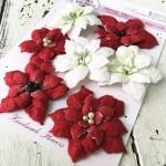 """Набор цветов из коллекции """"Пуансеттия"""", цвет: белые и красные с тычинками, 7 шт., размер 5,5см, Ручная работа. GA000001"""