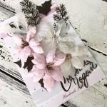 """Набор цветов из коллекции """"Пуансеттия+вырубка"""", цвет: розовые, прозрачные, бронзовые с тычинками, 4 шт., размер 7,5см, Ручная работа. GA000002"""